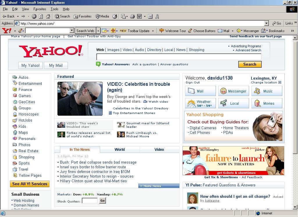 Yahoo Com Homepage - LEGIMIN SASTRO
