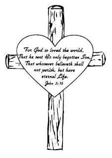 For god so loved the world that he sent his only begotten son that whoever believeth shall not perish but have eternal life John 3:16 verse with wooden cross coloring page drawing art Christian religious pic free download