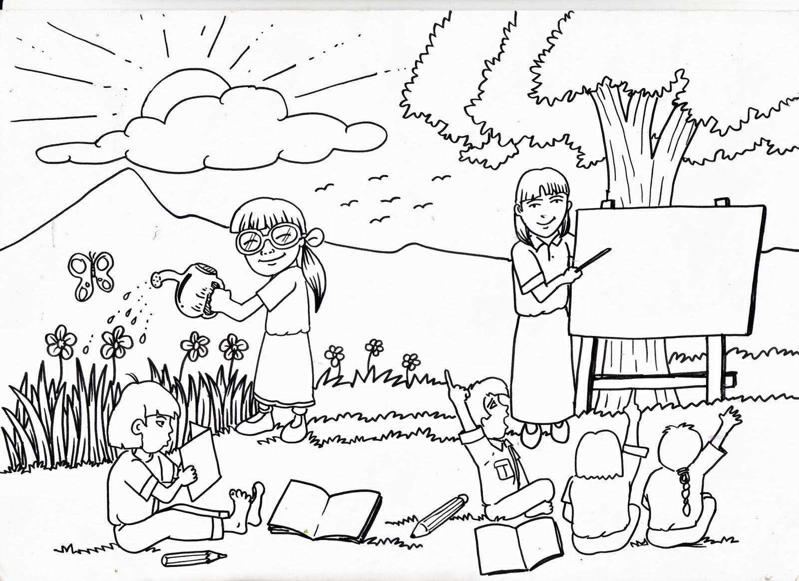 Mewarnai Gambar Hidup Rukun Di Sekolah Mewarnai Gambar