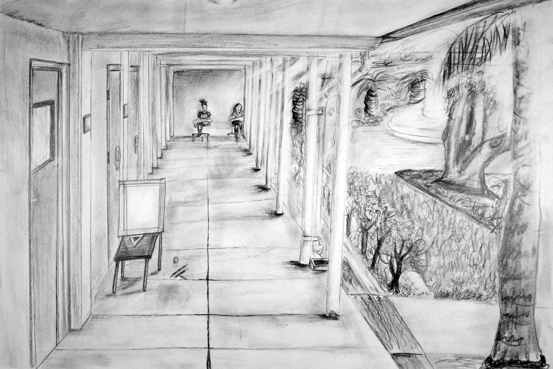 school hallway drawing - 1080×720