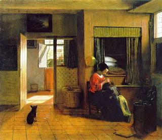 A Scene Of Dutch Domesticity Painted By Pieter De Hooch In The Mid 17th Century Note Bed Wall Which Was Typical