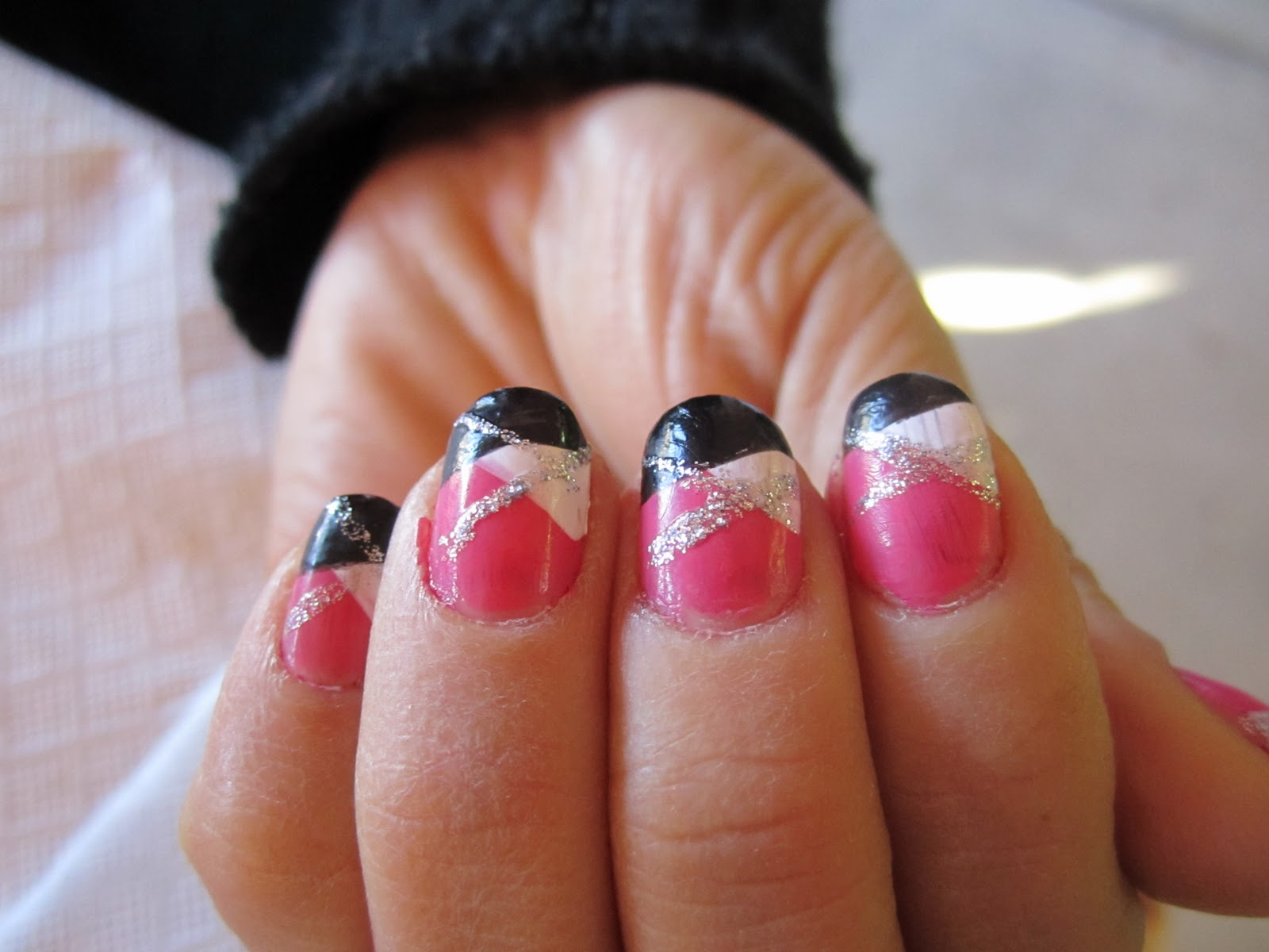 Blanca1018: Zebra nails: Pink/Black/White Plaid nails
