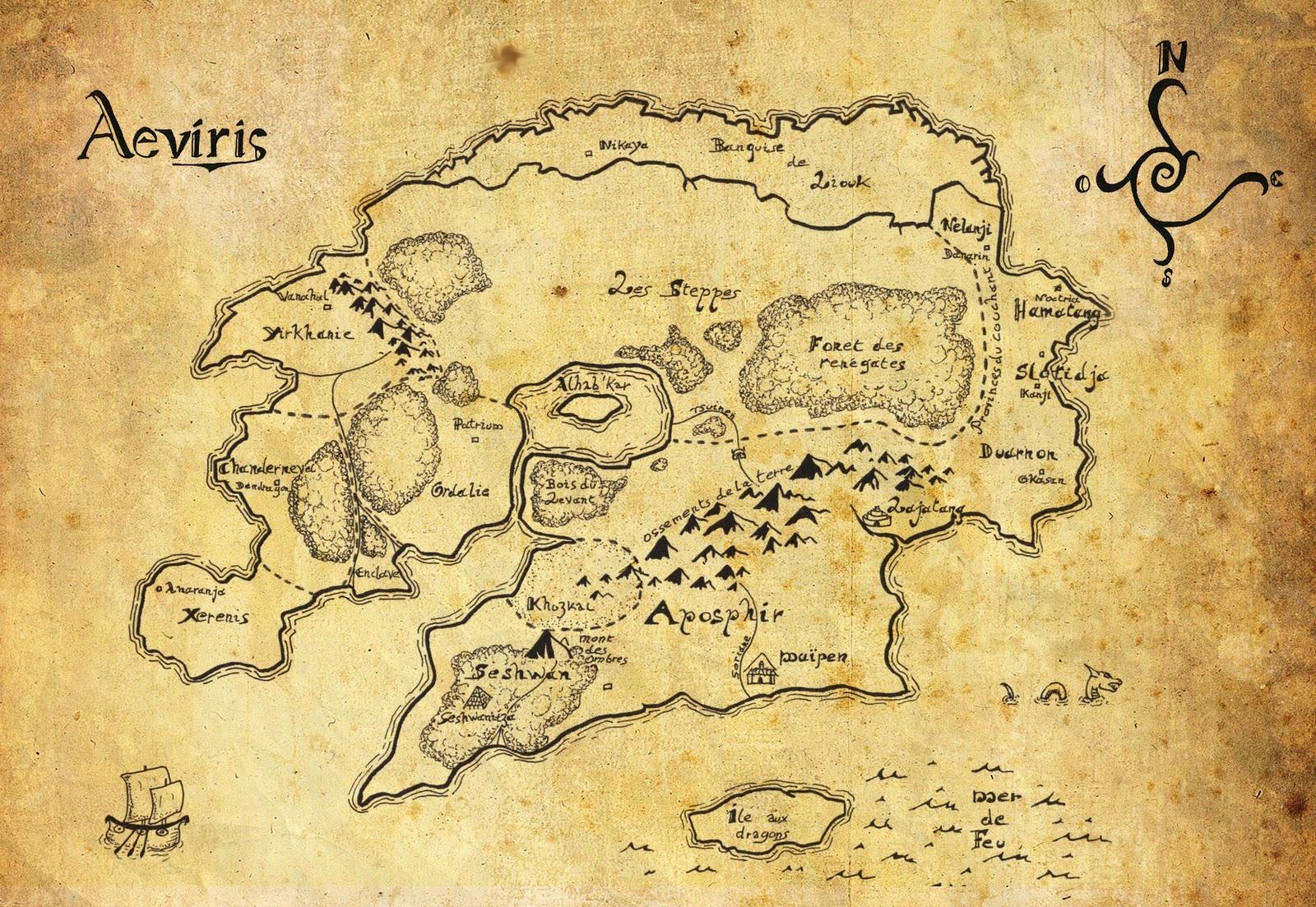 carte monde fantastique vierge Le monde fantastique d'Aeviris: La carte fait peau neuve