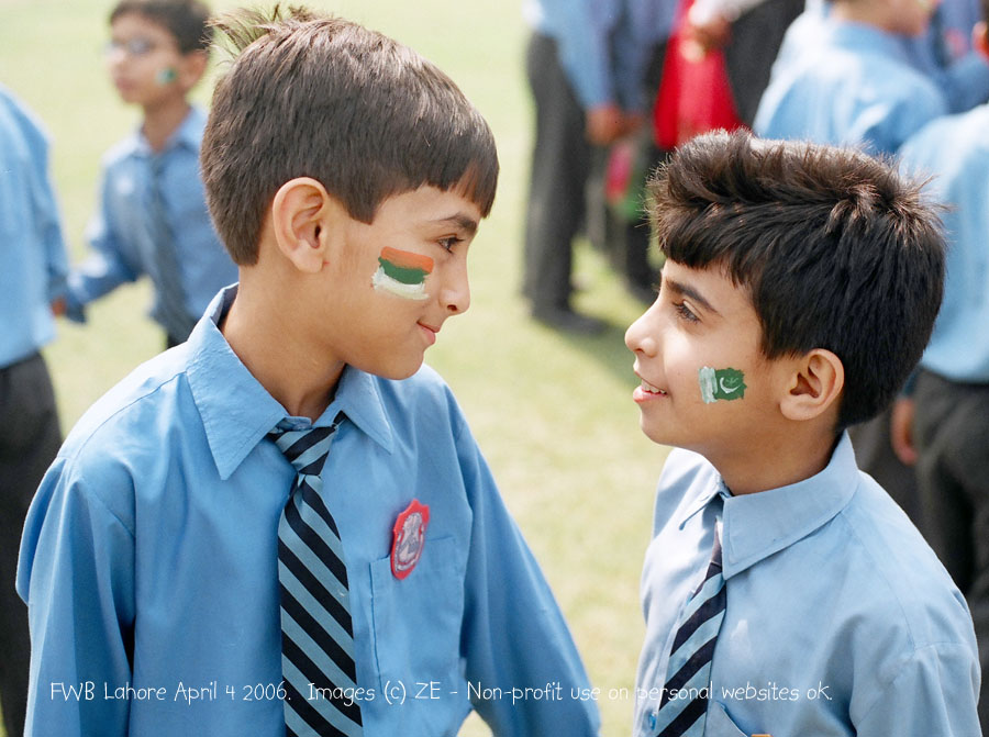 Pakistani school children with flags of India and Pakistan overcoming the imperial 'divide and conquer' at the Friends Without Borders function in Lahore, 2006 (Photographer Zahir Ebrahim)