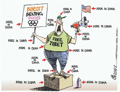 cartoon of a guy protesting to free tibet and labels tell us that everything he is wearing is made in china
