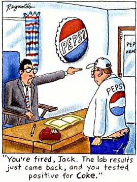 cartoon of a Pepsi worker being fired because he tested positive for coke