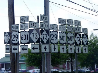 photo of a lot of confusing signs