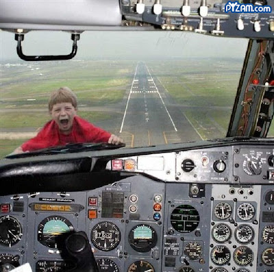 photo of a kid outside a cockpit's window
