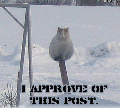 photo of a cat sitting on a post
