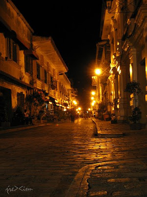 Vigan cobble stone street at night by j.rexie.m