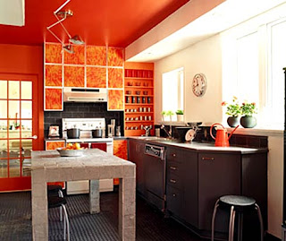 mid century modern orange kitchen remodel and decor
