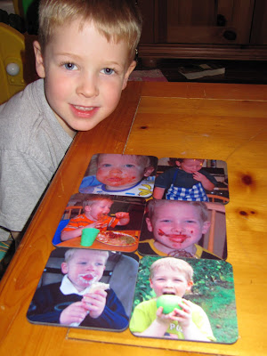 child with custom photo coasters