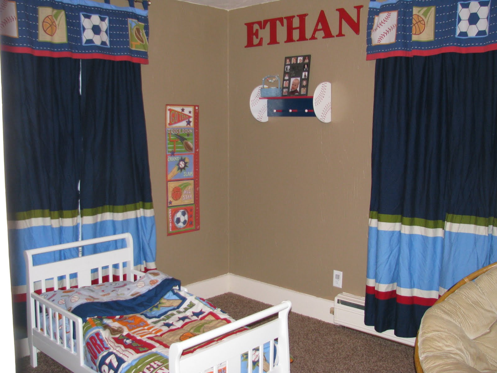 Boys Sports Bedroom And Here S Ethan New Toddler We Chose A Theme
