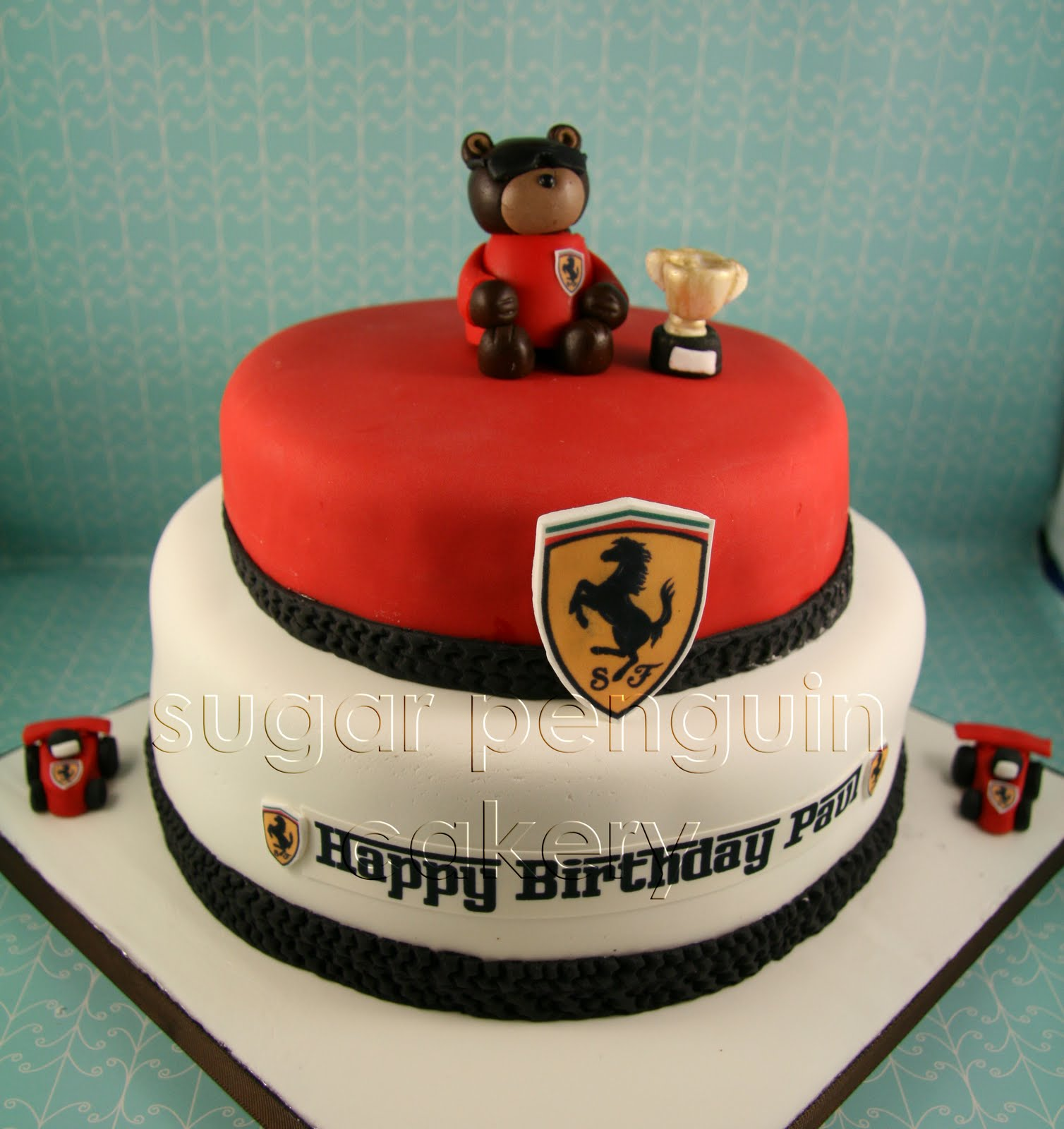 As For The Birthday Message We Did It In Ferrari Font To Just Match Whole Themed Cake Then Added Two Little Race Cars