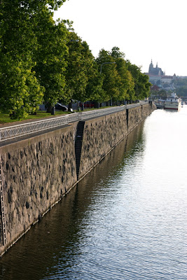 Prague river bank and Prague castle