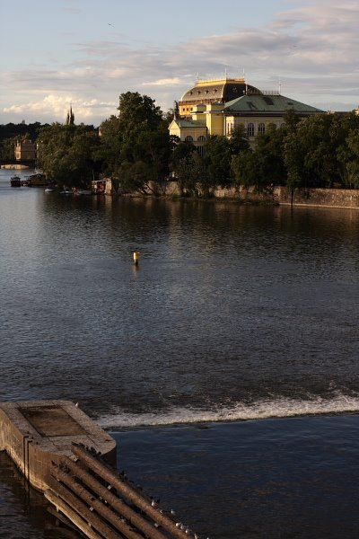 Prague - Vltava river with National theatre in the back