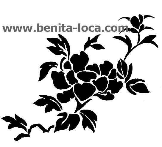 Les pochoirs et dessins déco de Benita: Pochoir de pivoine
