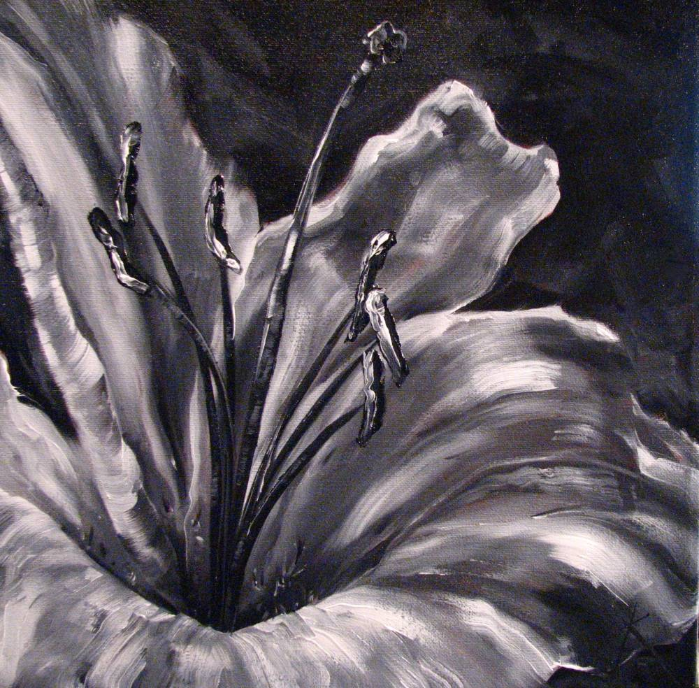 monochromatic painting floral lily artist kim blair magic paintings canadian flowers artists monocromatic hibiscus ink abstract lilies