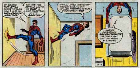 Peter Parker, in his Spider-Man costume, walks up the wall of his apartment and lifts a refrigerator from the floor as he hangs from the ceiling