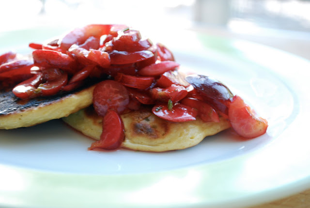 Rosemary Polenta Pancakes with Fresh Cherries and Lime