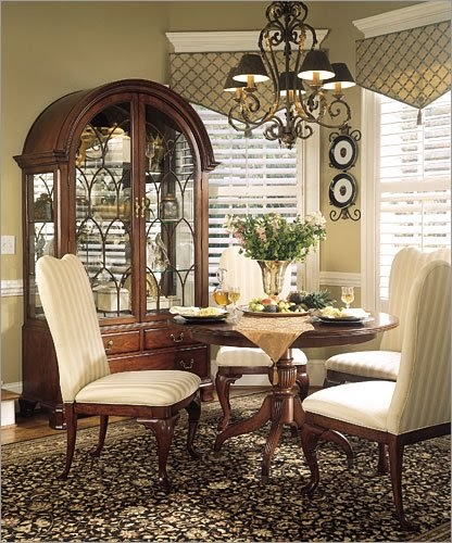 Traditional Cherry Casual Carved Design Dining Room Round: Modern Furniture: French Country / Provincial Dining Sets
