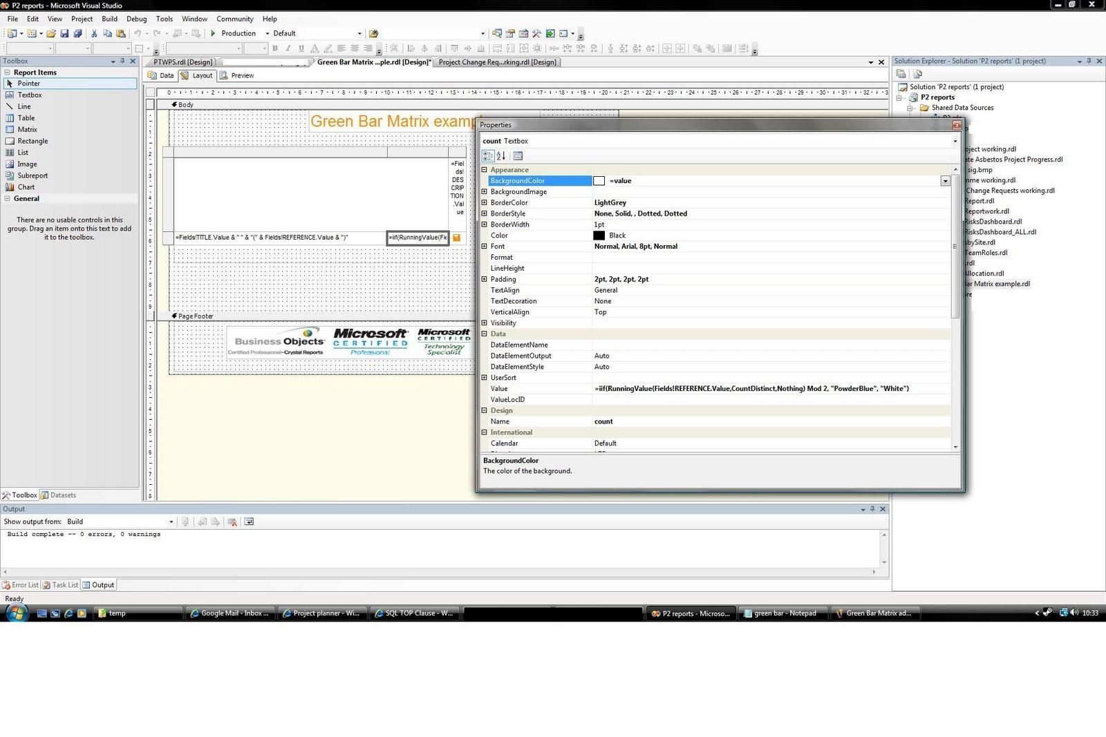 SQL Server, SSRS and Crystal Reports: Green bar matrix