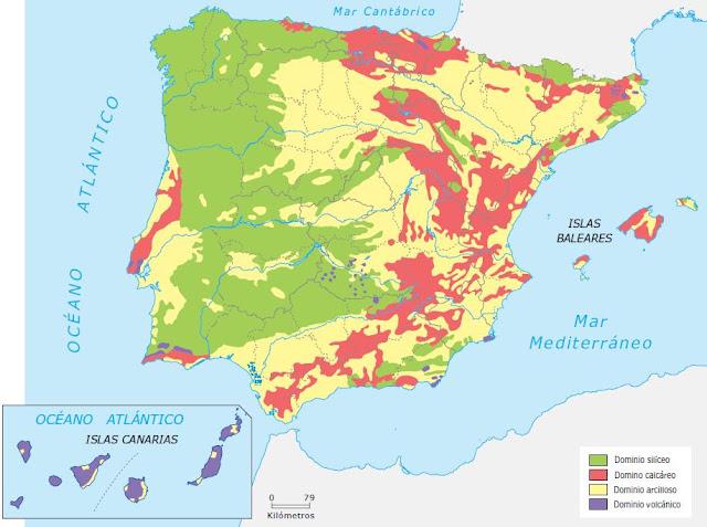 Resultado de imagen de MAPA  LITOLOGICO ESPÀÑA