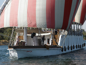 An Egyptian Dehabbiyeh boat, with two 60-ft high sails