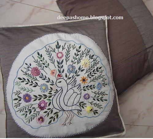 Brazilian Embroidery Applique On Cushion Cover