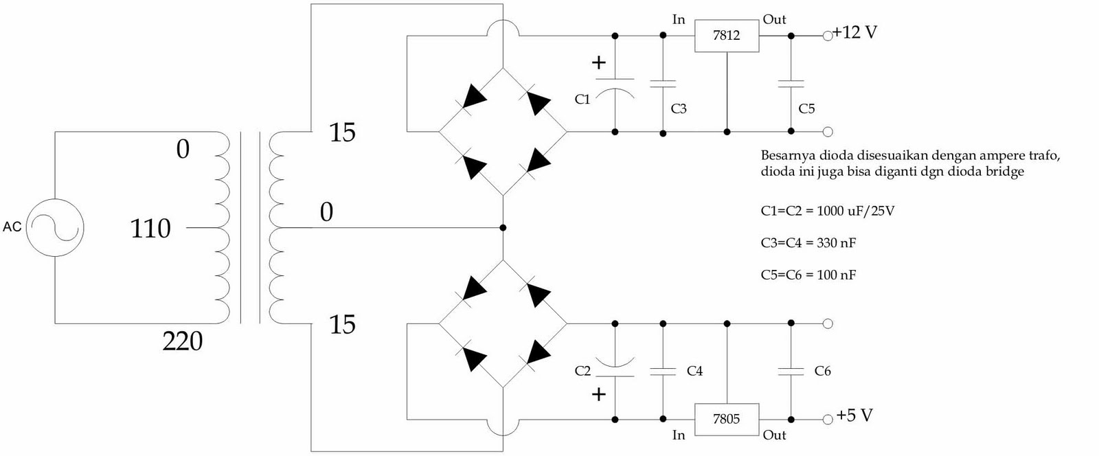 small resolution of schematic diagram power supply dual output 12v 5v