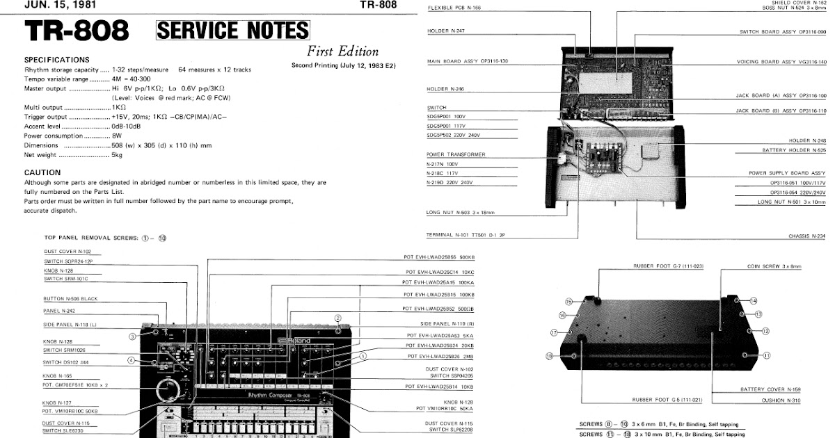 Din Sync: Roland TR-808 Service Manual