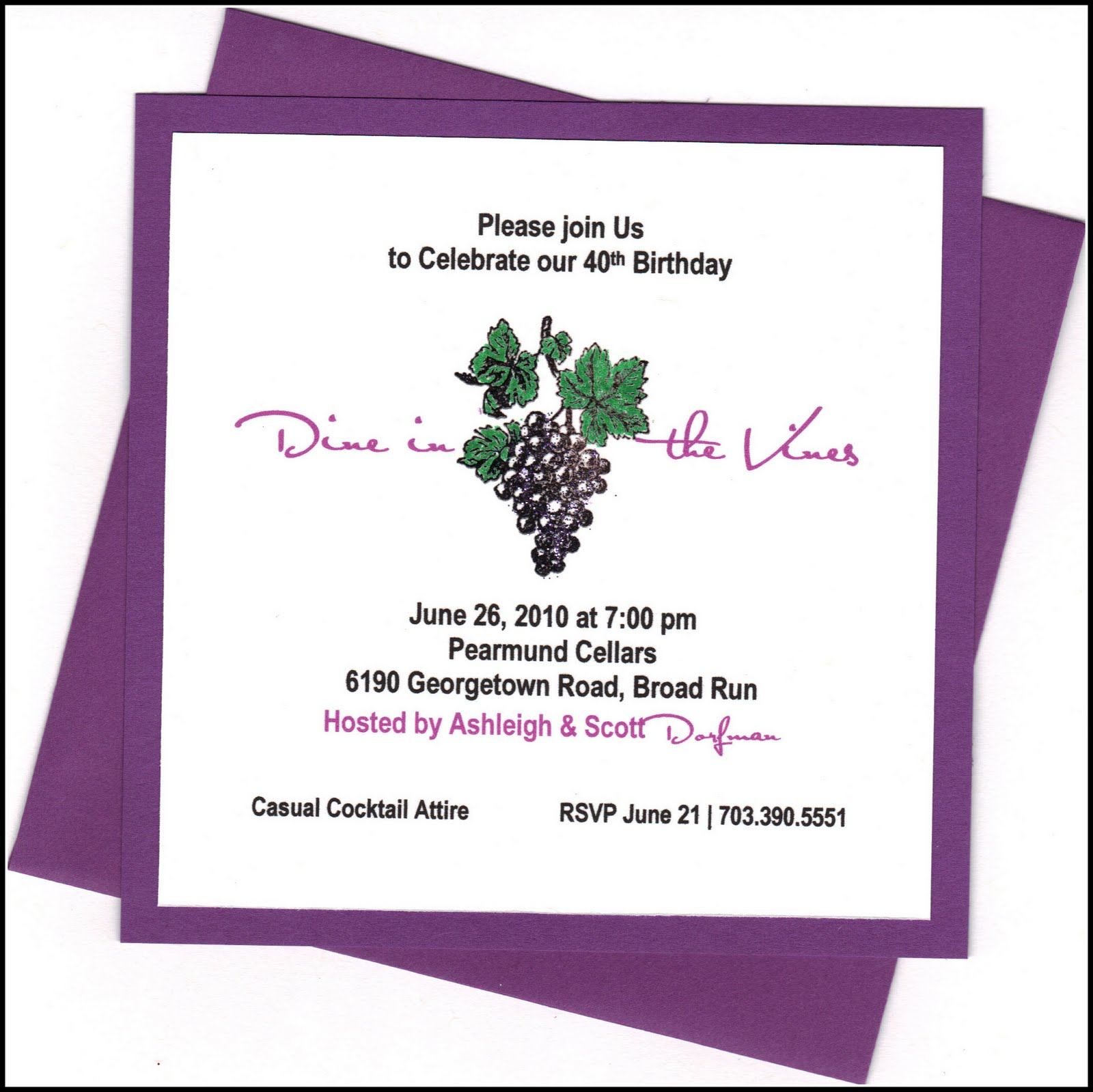 Dine In The Vines Invite Birthday Party Ideas Northern Virginia