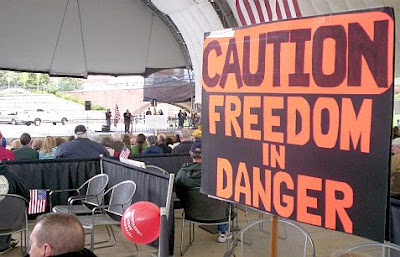 Caution freedom in danger