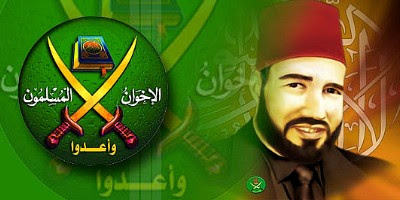 Muslim Brotherhood logo and Hassan al-Banna