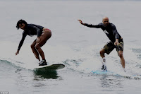 Serena Williams surfing with Common