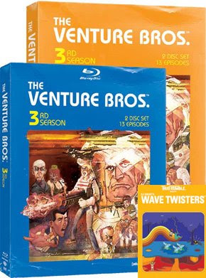 The Venture Bros. Season 3 and Wave Twisters DVD covers