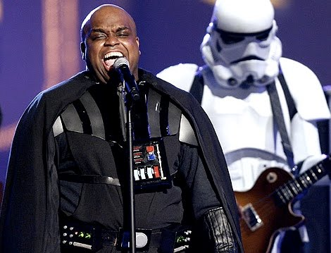 Cee-Lo opted for the Vader ensemble after the Slave Leia bikini didn't work out.