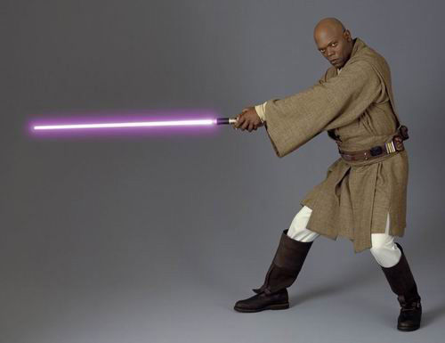 Mace Windu gets ready to stab that fool Jar Jar.