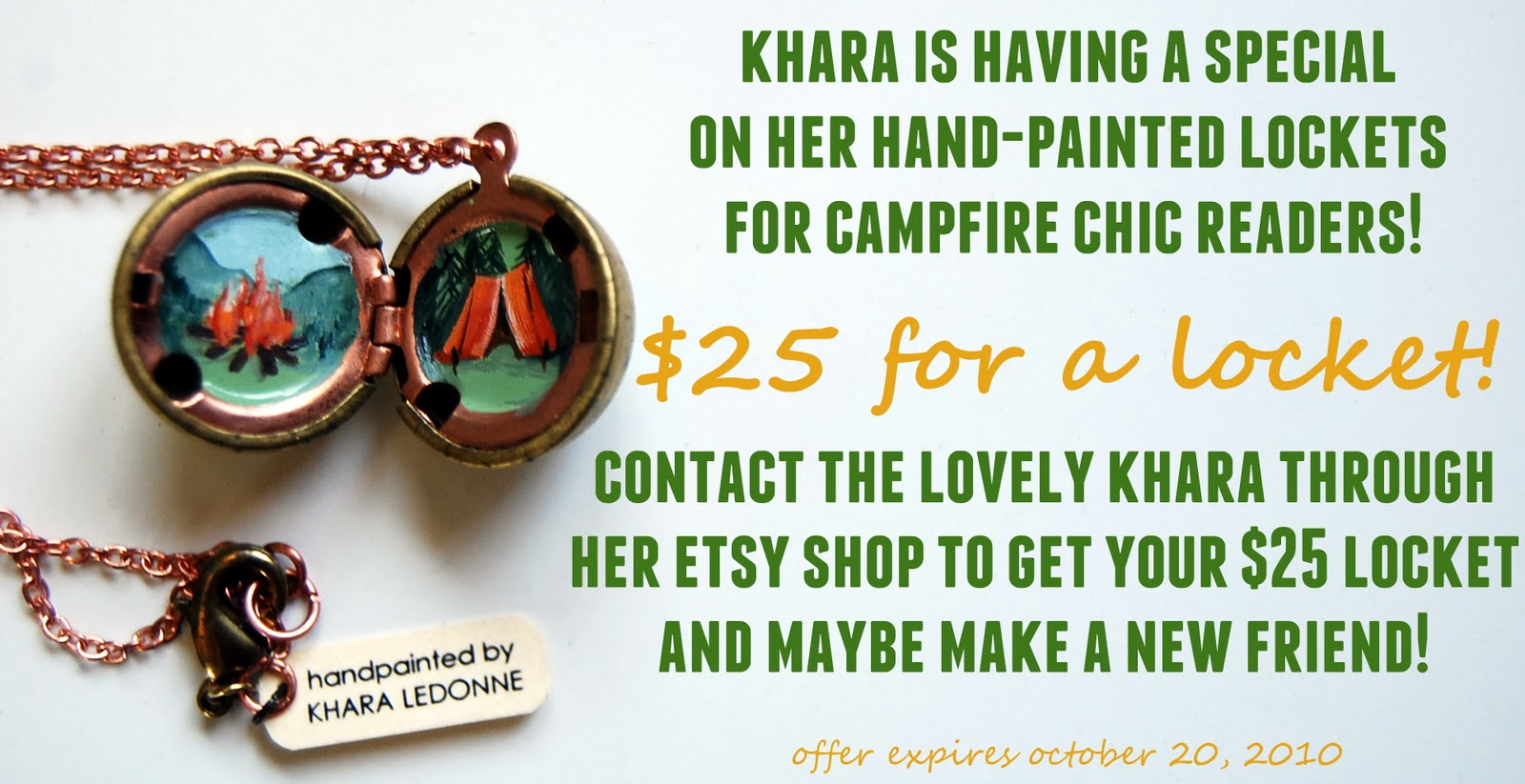 Reminder: Giveaway and Special Offer - Campfire Chic