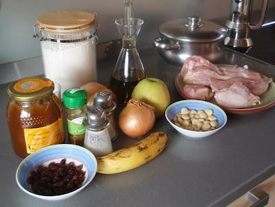 Ingredientes para elaborar el pollo al curry