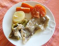 gallo o lenguadina al horno con hortalizas