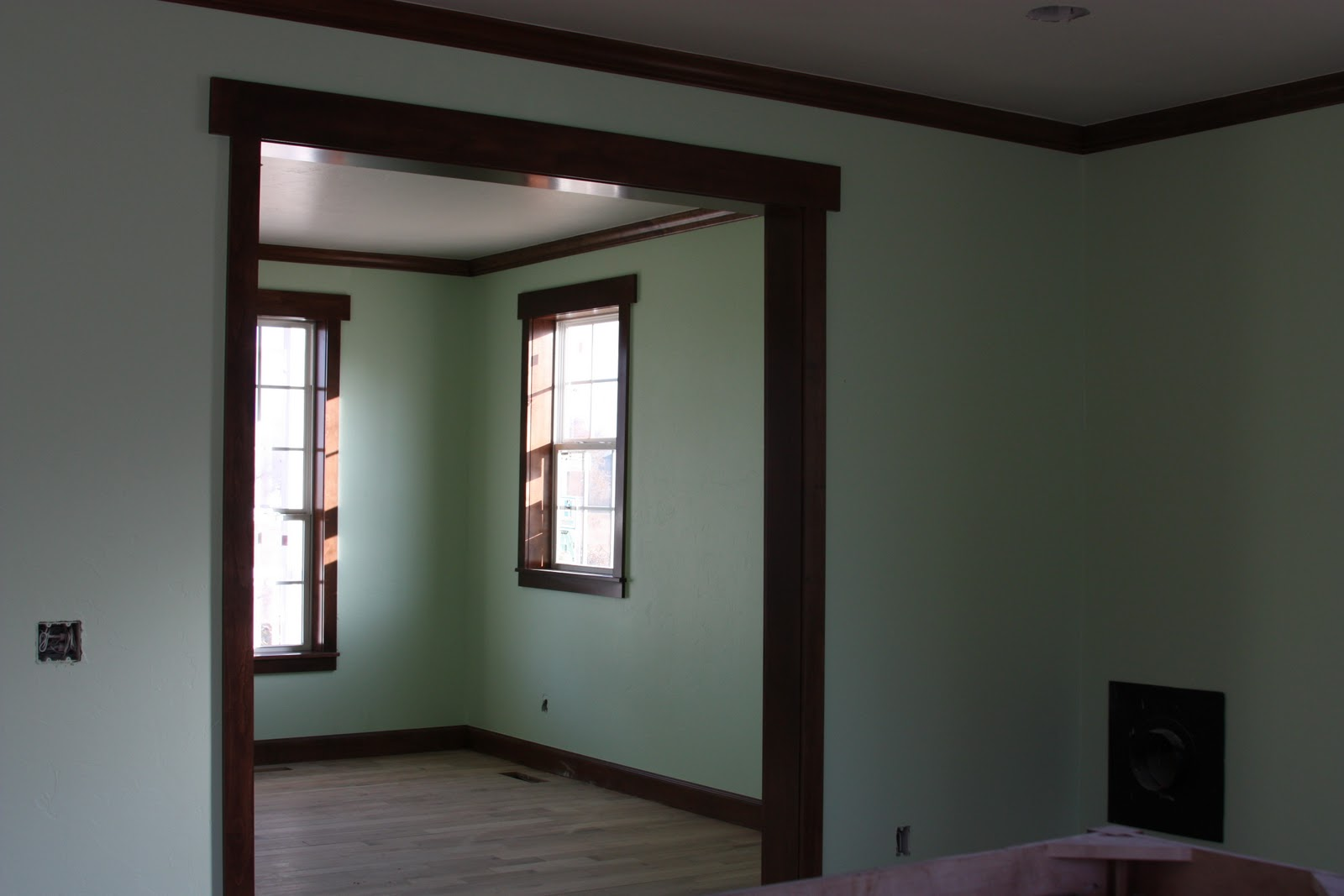 Paint Color with Dark Wood Trim in Room