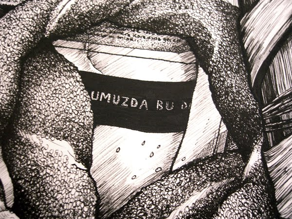 Close up of ink drawing of a bread seller in Istanbul by Samantha Zaza.