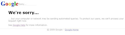 Troubleshooting Google We're Sorry Page 1
