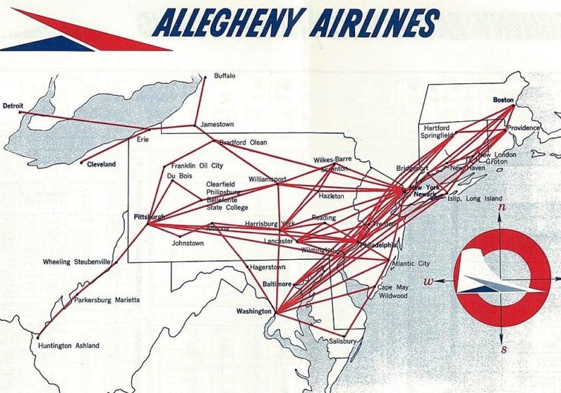 The Timetablist Allegheny Airlines Systemwide Network 1963