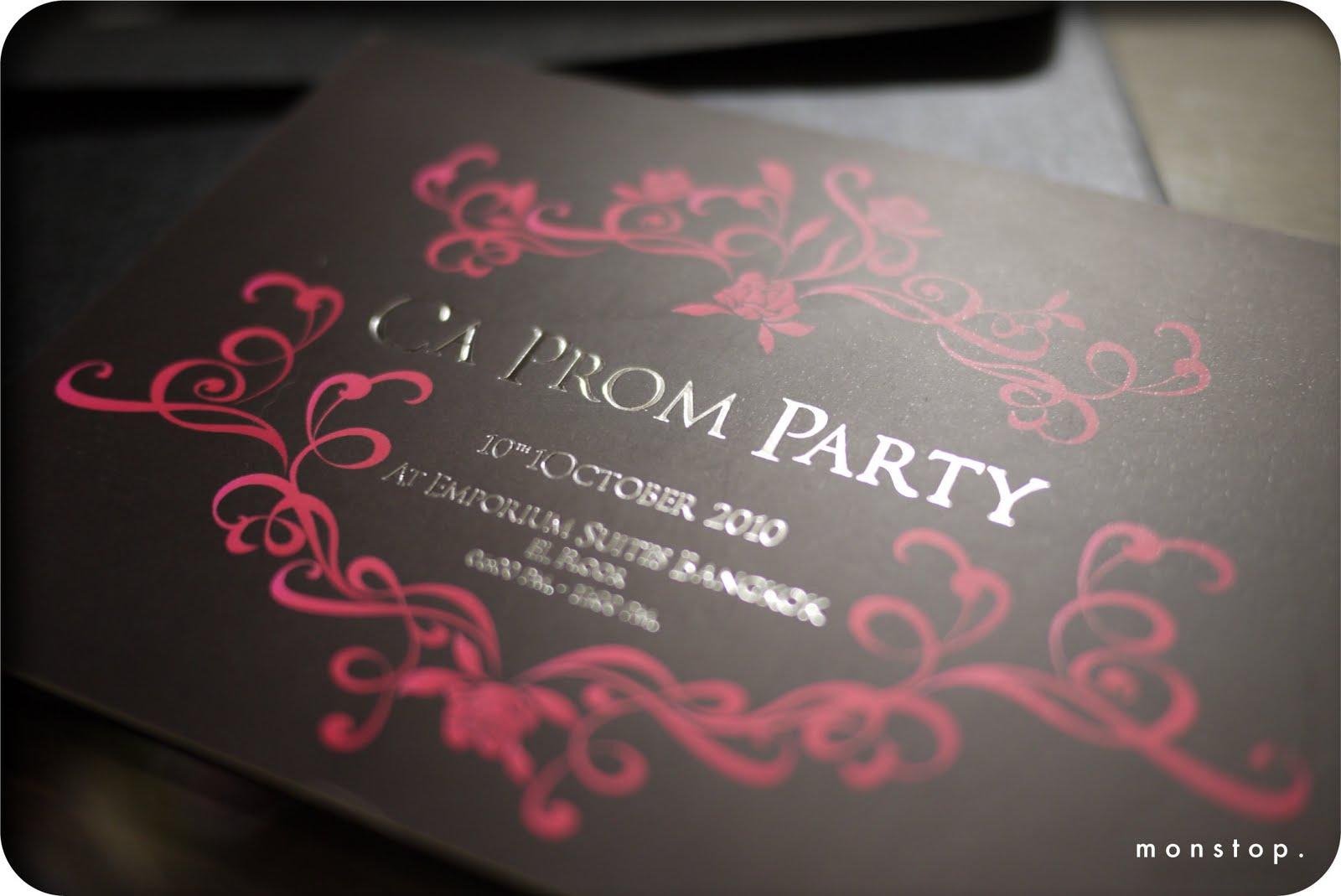 m o n s t o p invitation card   ca prom party