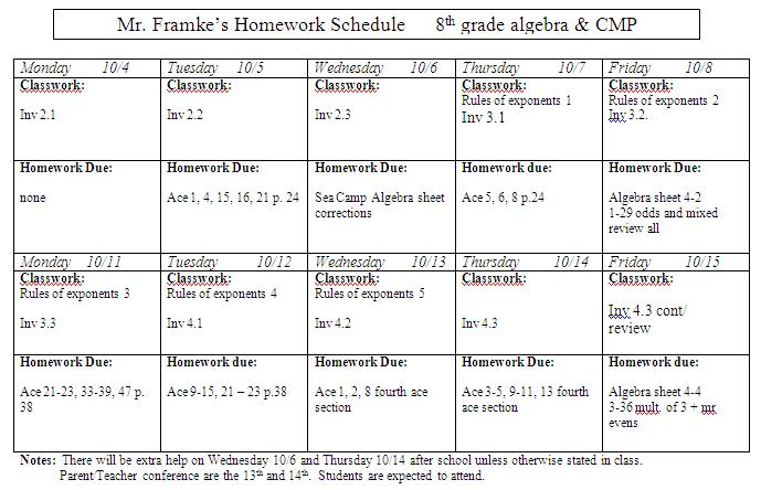 Homework help for 8th grade math
