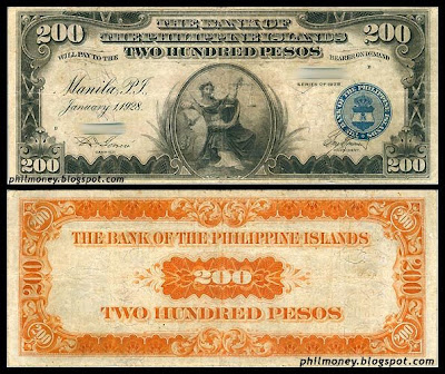 200 Peso Banknote Bank Of The Philippine Islands 1928 American Regime