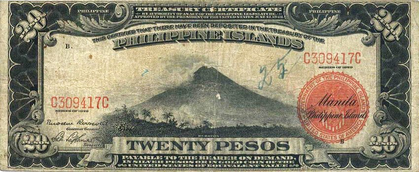Philippine Money Peso Coins And Banknotes 20 Banknote American Period Treasury Certificate