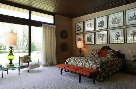 Modernismo arquitectónico residencial americano, dormitorio de una casa familiar